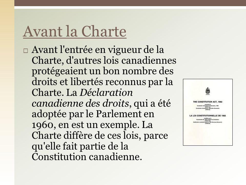 Avant la Charte