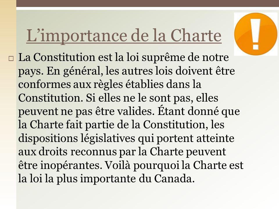 L'importance de la Charte