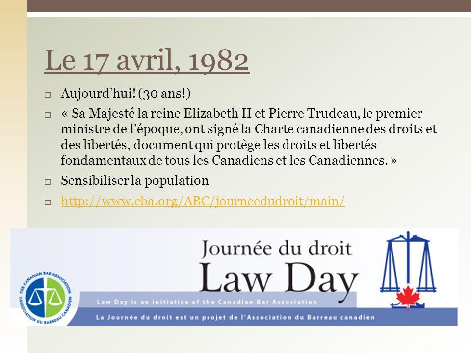 Le 17 avril, 1982 Aujourd'hui! (30 ans!)
