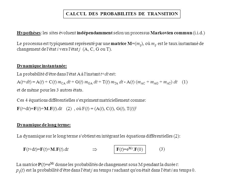 CALCUL DES PROBABILITES DE TRANSITION