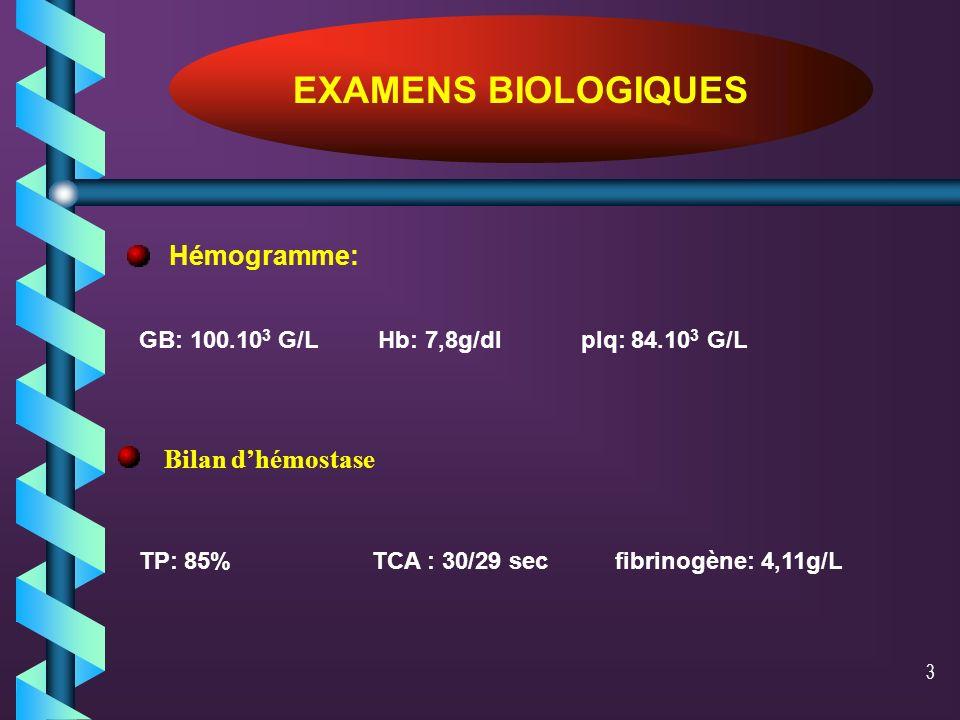 EXAMENS BIOLOGIQUES Hémogramme: Bilan d'hémostase