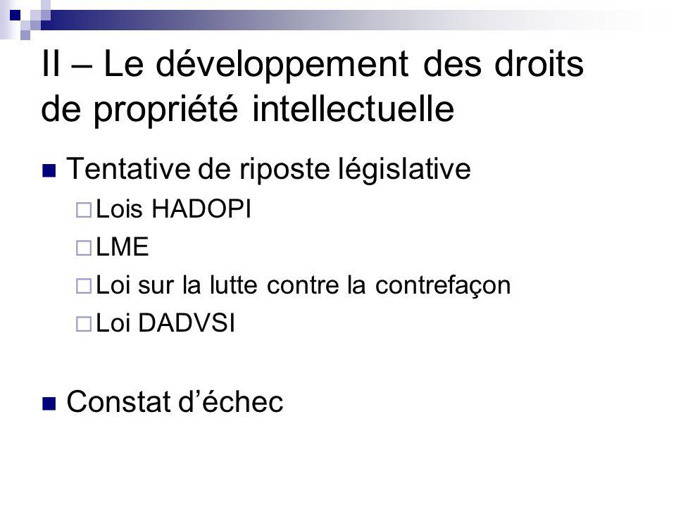 II – Le développement des droits de propriété intellectuelle