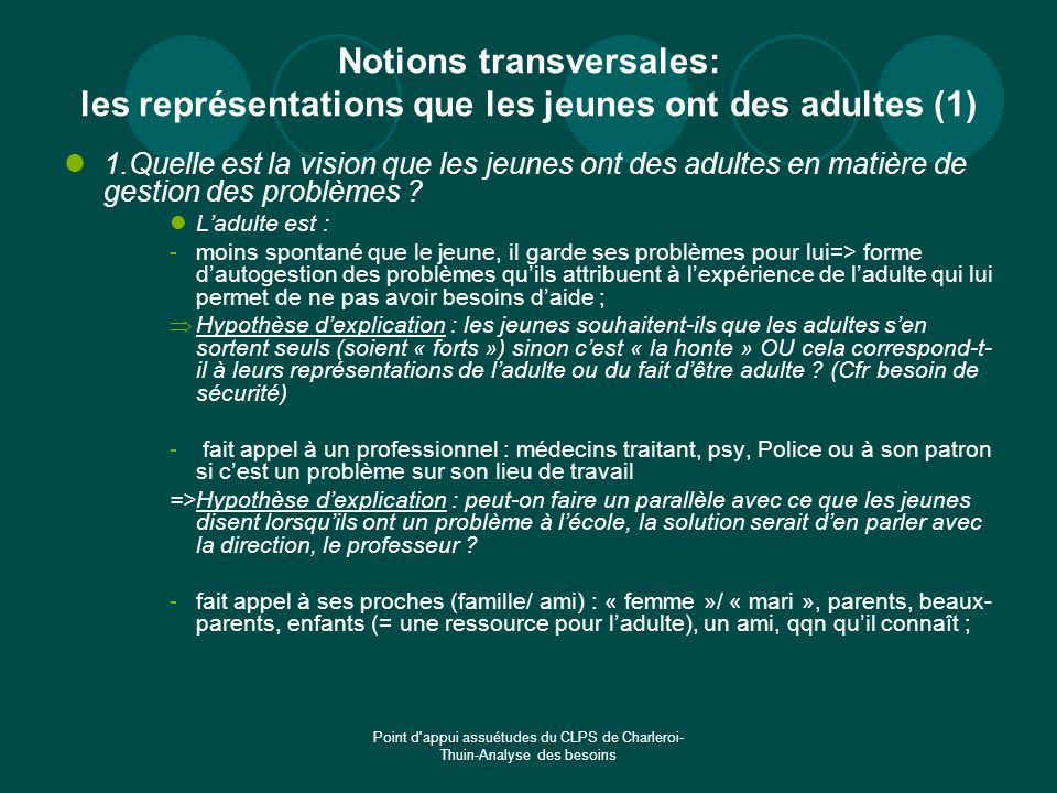 Notions transversales: les représentations que les jeunes ont des adultes (1)