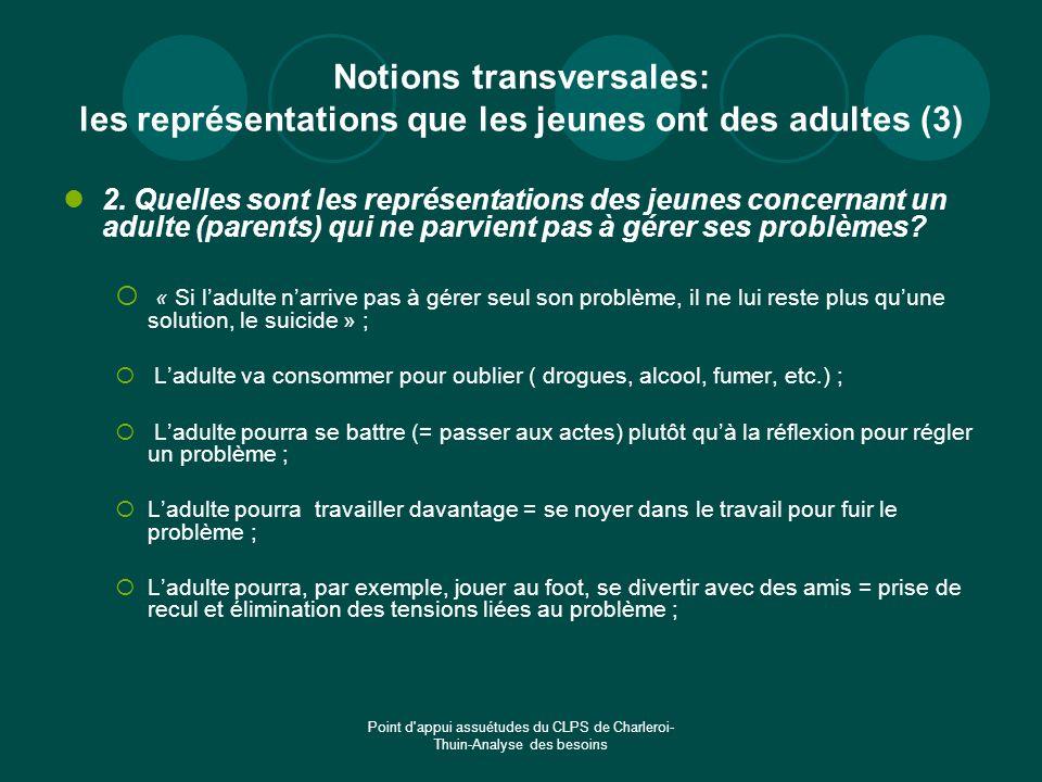 Notions transversales: les représentations que les jeunes ont des adultes (3)