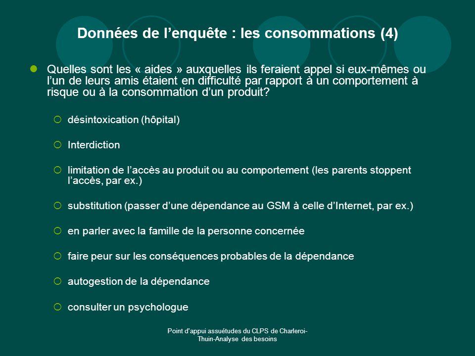 Données de l'enquête : les consommations (4)
