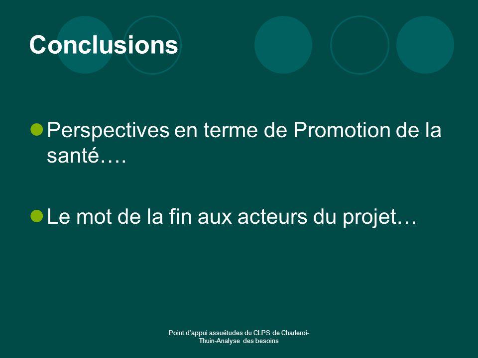Conclusions Perspectives en terme de Promotion de la santé….