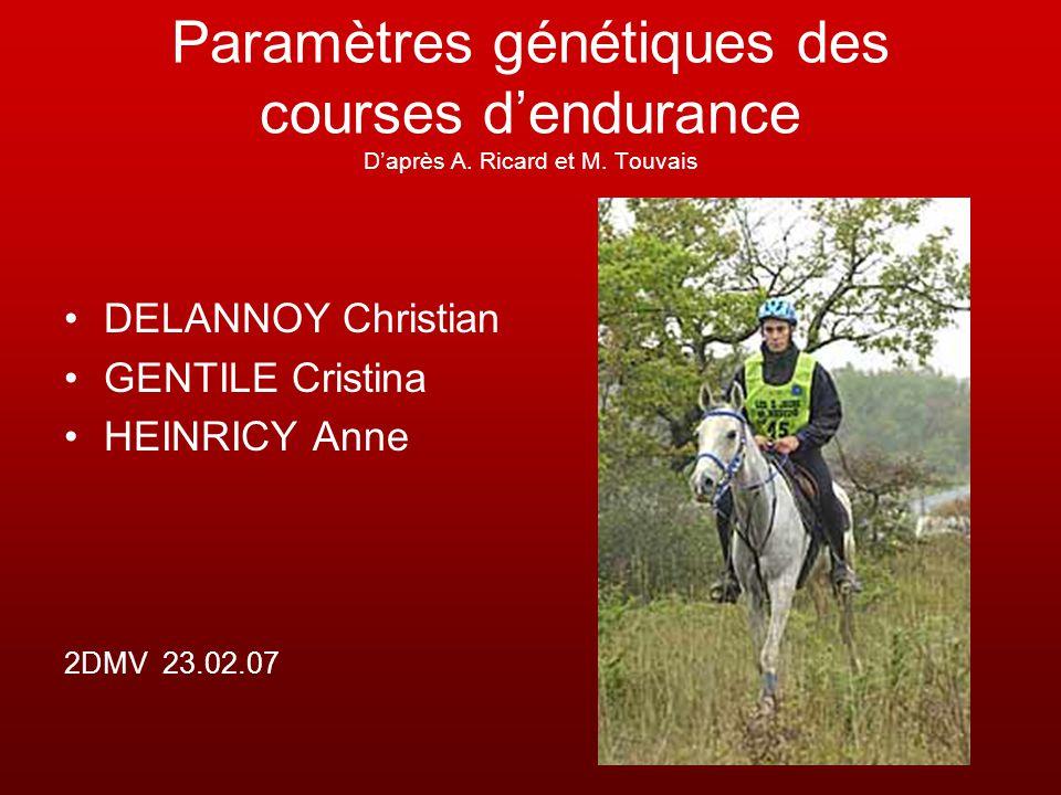 Paramètres génétiques des courses d'endurance D'après A. Ricard et M