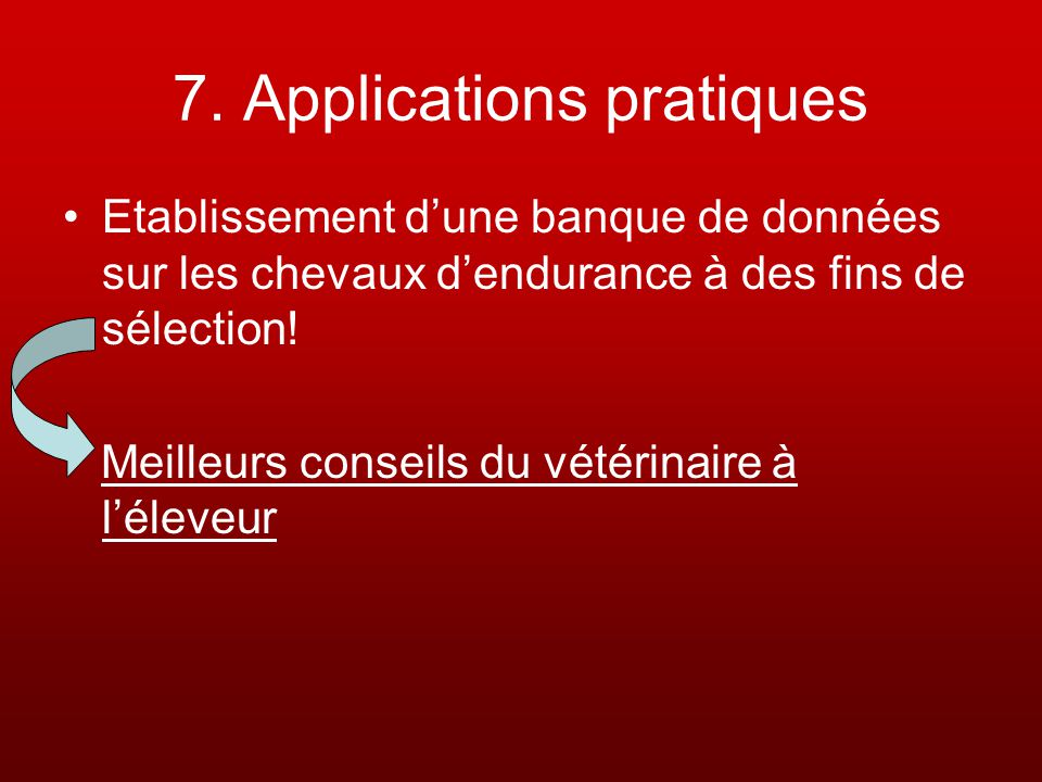 7. Applications pratiques