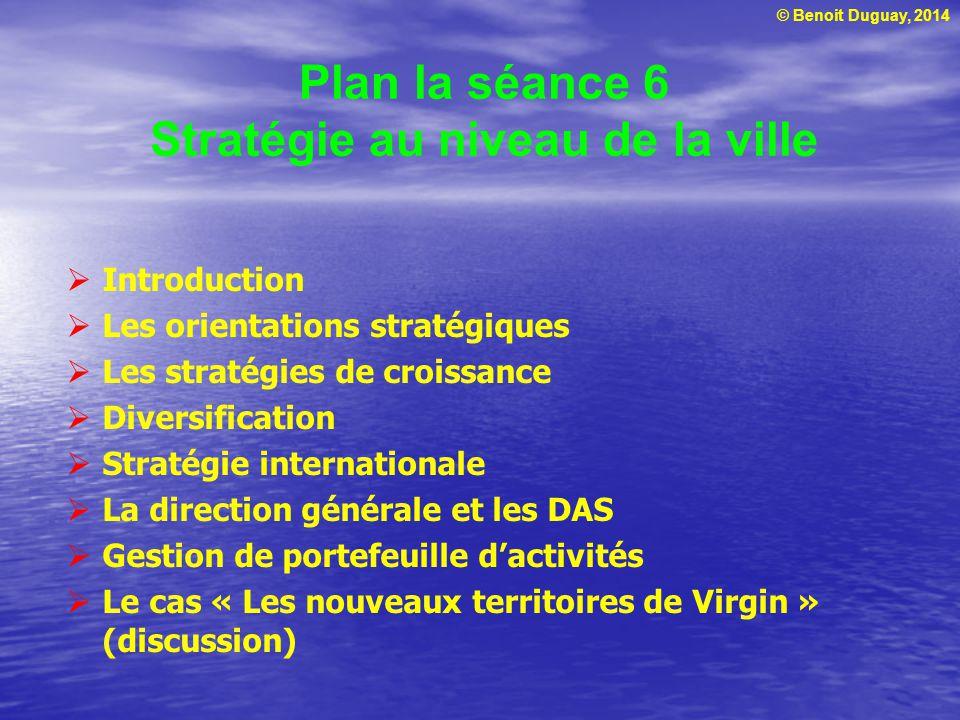 Plan la séance 6 Stratégie au niveau de la ville