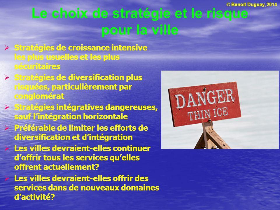 Le choix de stratégie et le risque pour la ville