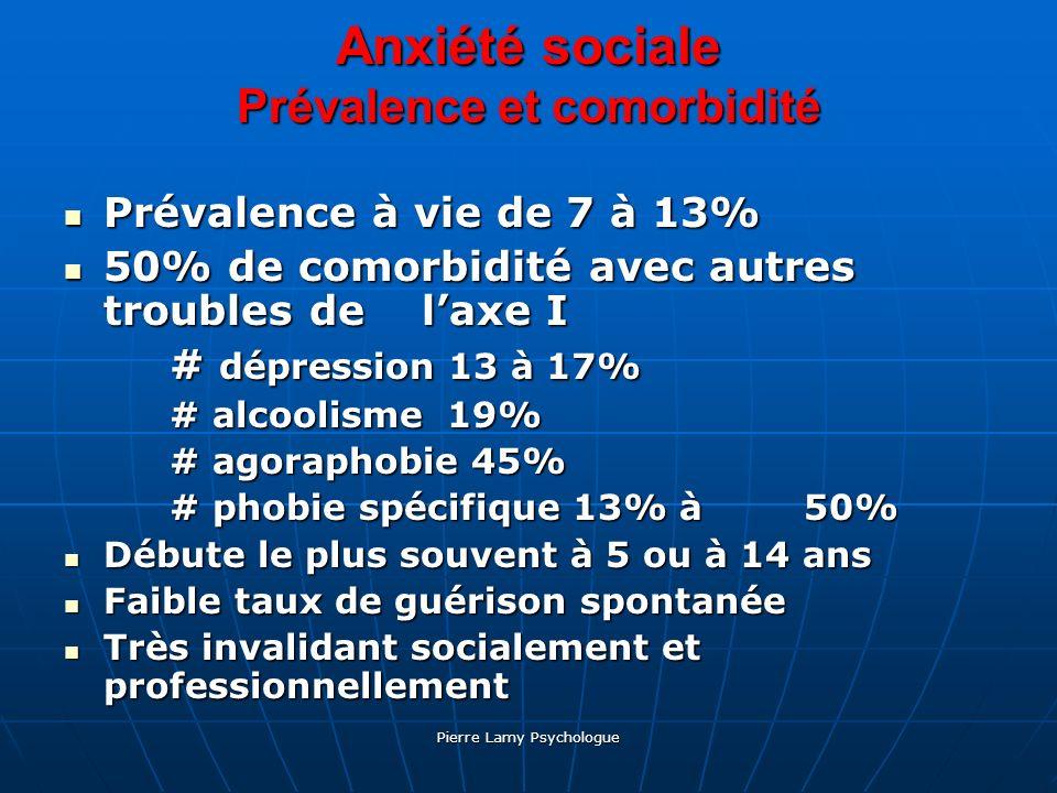 Anxiété sociale Prévalence et comorbidité