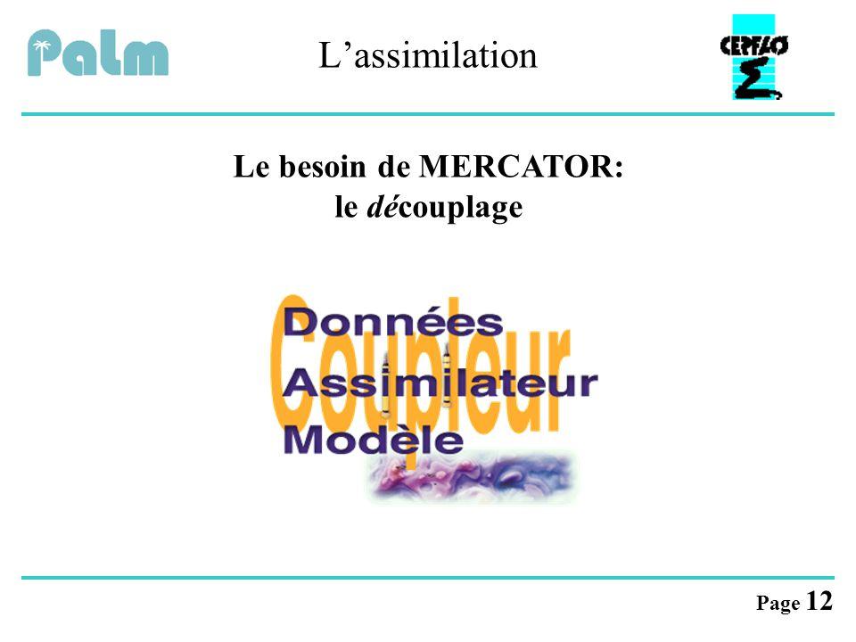 L'assimilation Le besoin de MERCATOR: le découplage
