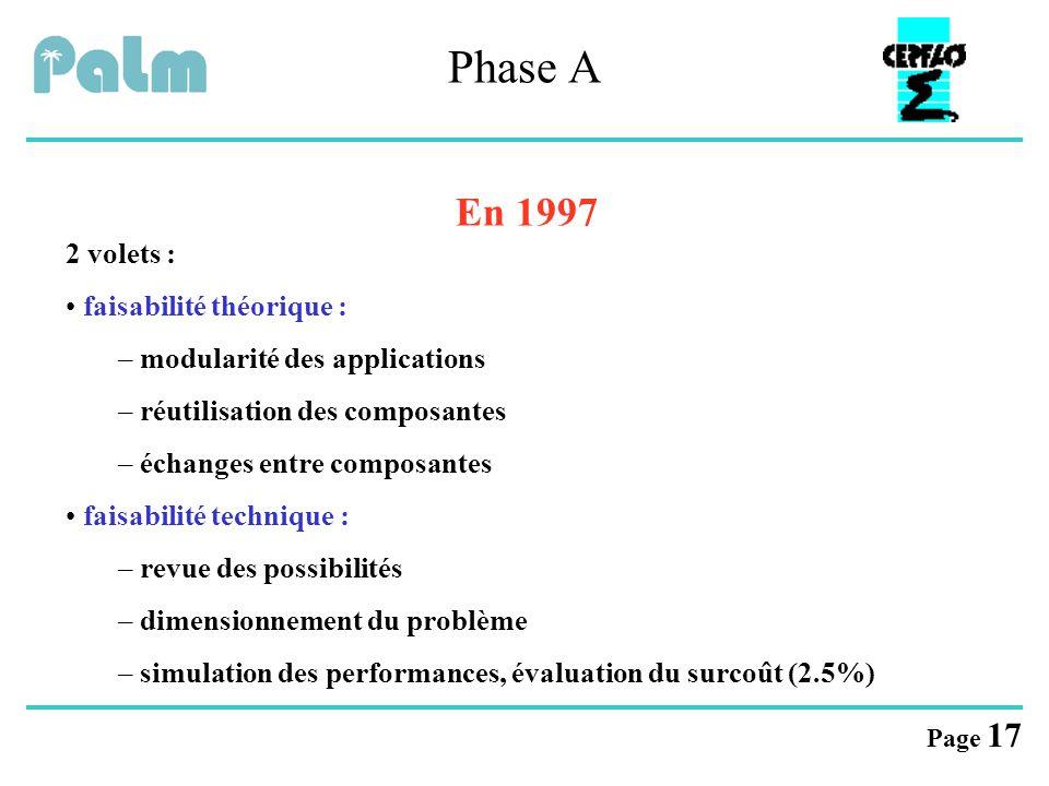 Phase A En 1997 2 volets : faisabilité théorique :