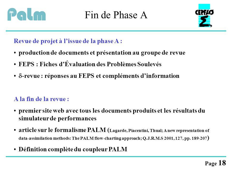 Fin de Phase A Revue de projet à l'issue de la phase A :