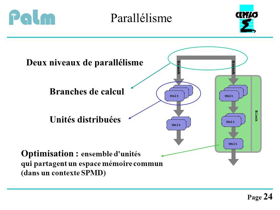 Parallélisme Deux niveaux de parallélisme Branches de calcul