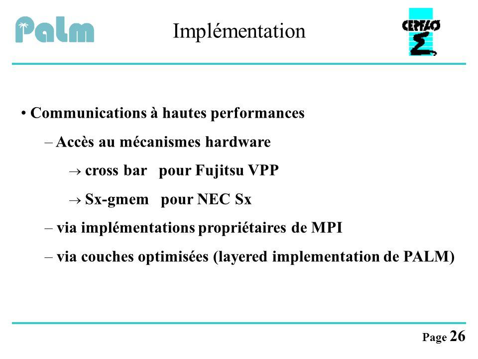 Implémentation Communications à hautes performances