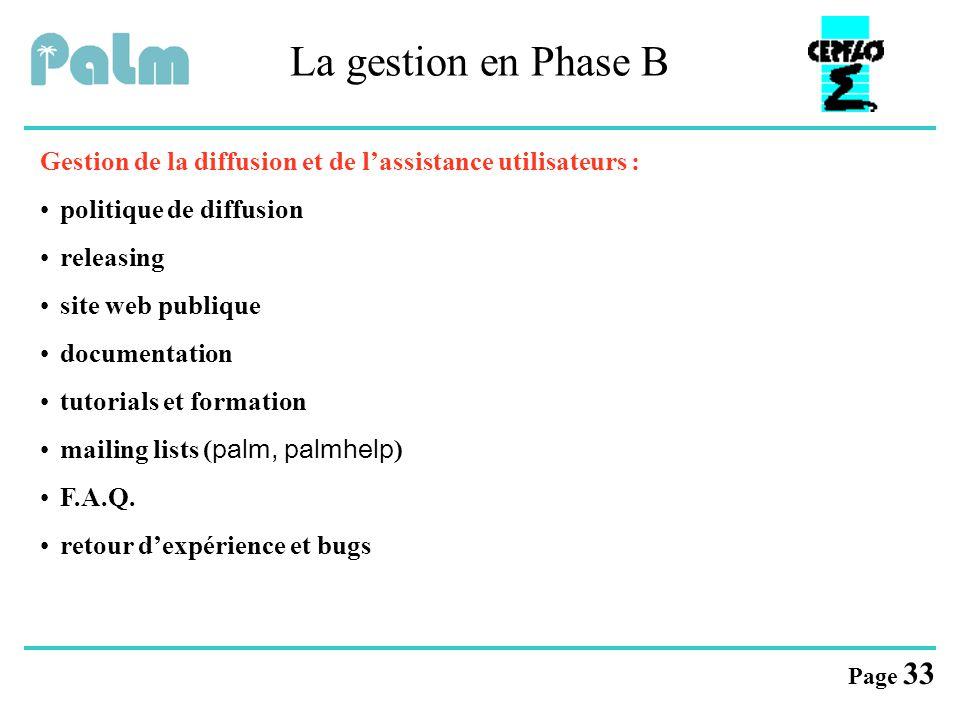 La gestion en Phase B Gestion de la diffusion et de l'assistance utilisateurs : politique de diffusion.