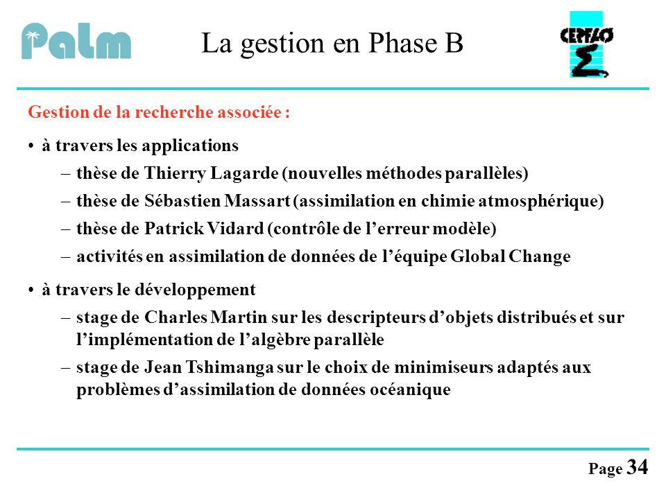 La gestion en Phase B Gestion de la recherche associée :