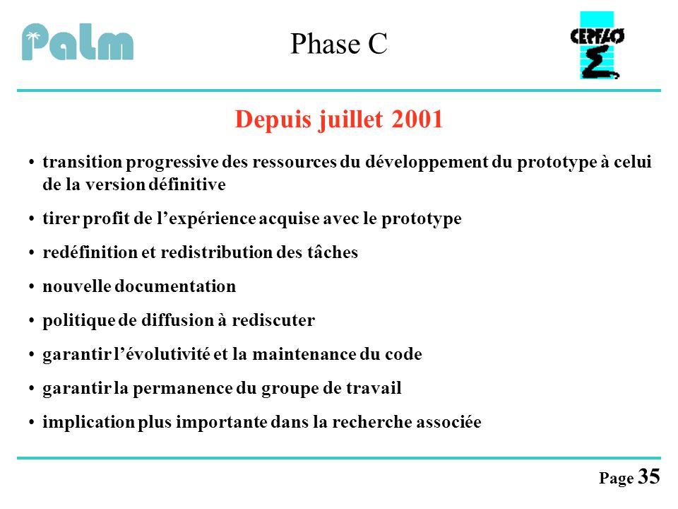 Phase C Depuis juillet 2001. transition progressive des ressources du développement du prototype à celui de la version définitive.