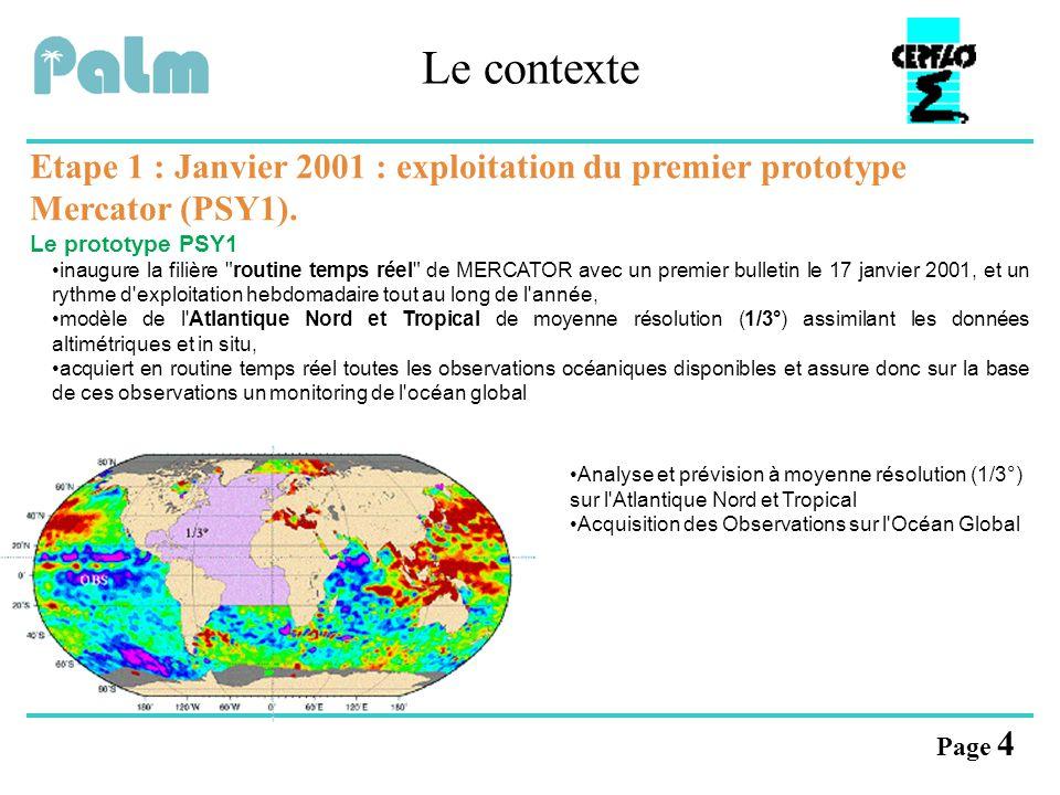 Le contexte Etape 1 : Janvier 2001 : exploitation du premier prototype Mercator (PSY1). Le prototype PSY1.