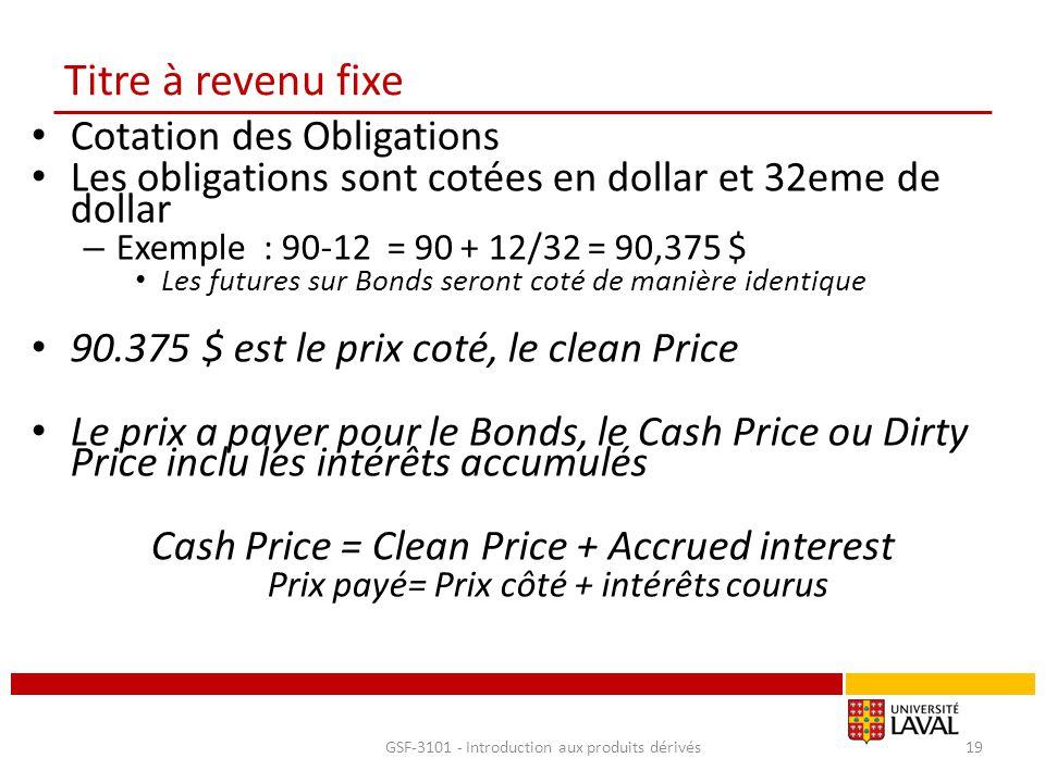 Titre à revenu fixe Cotation des Obligations