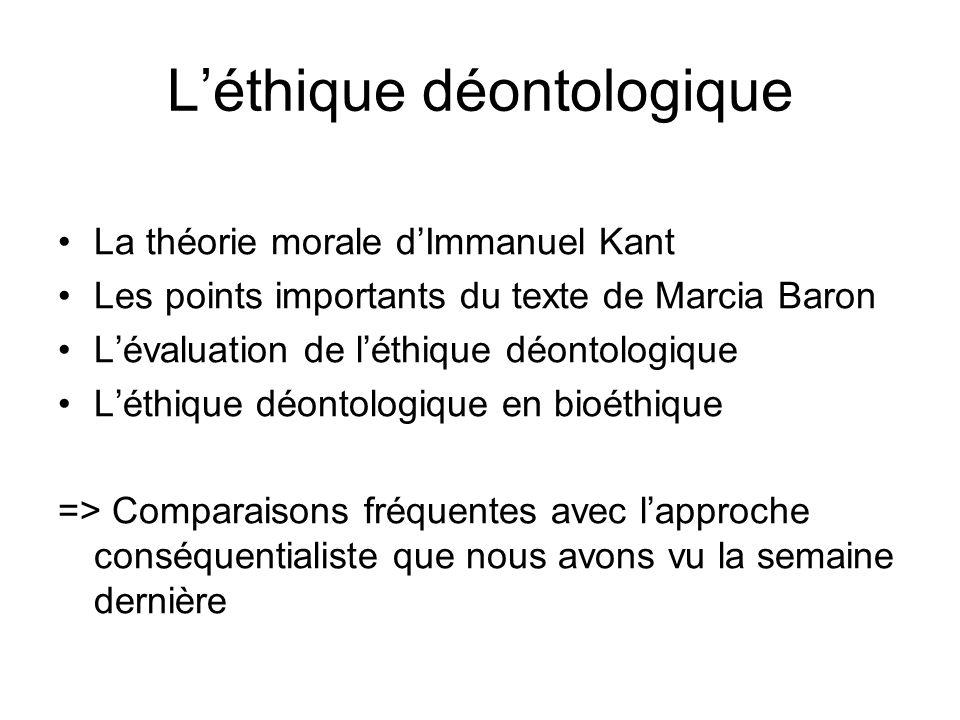 L'éthique déontologique