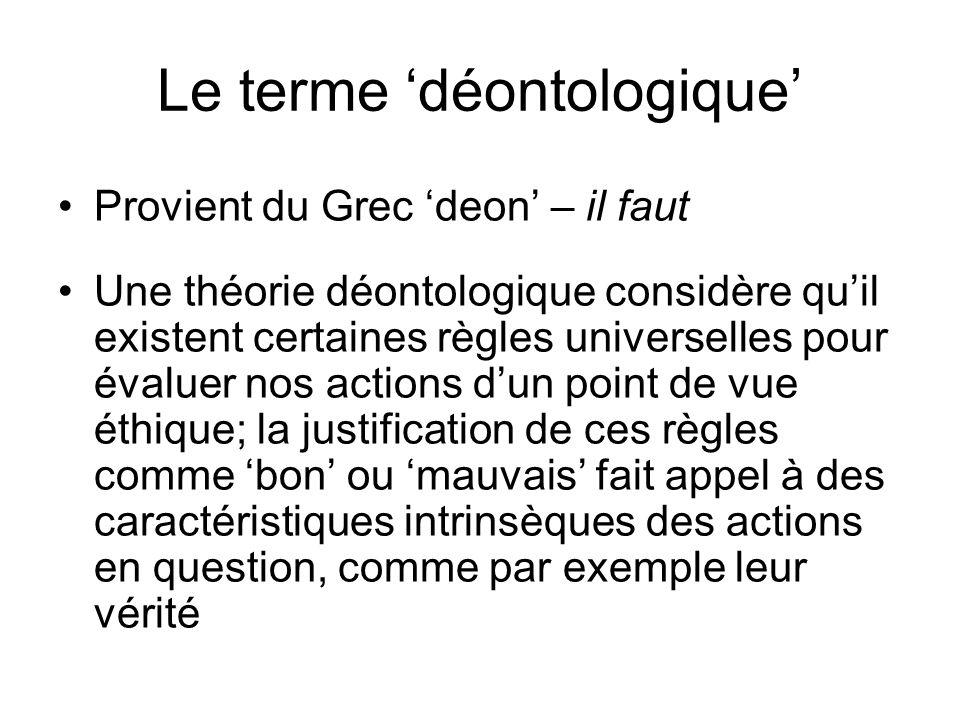Le terme 'déontologique'