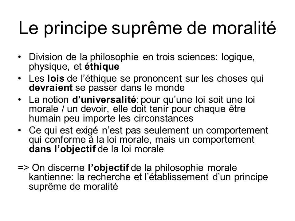 Le principe suprême de moralité