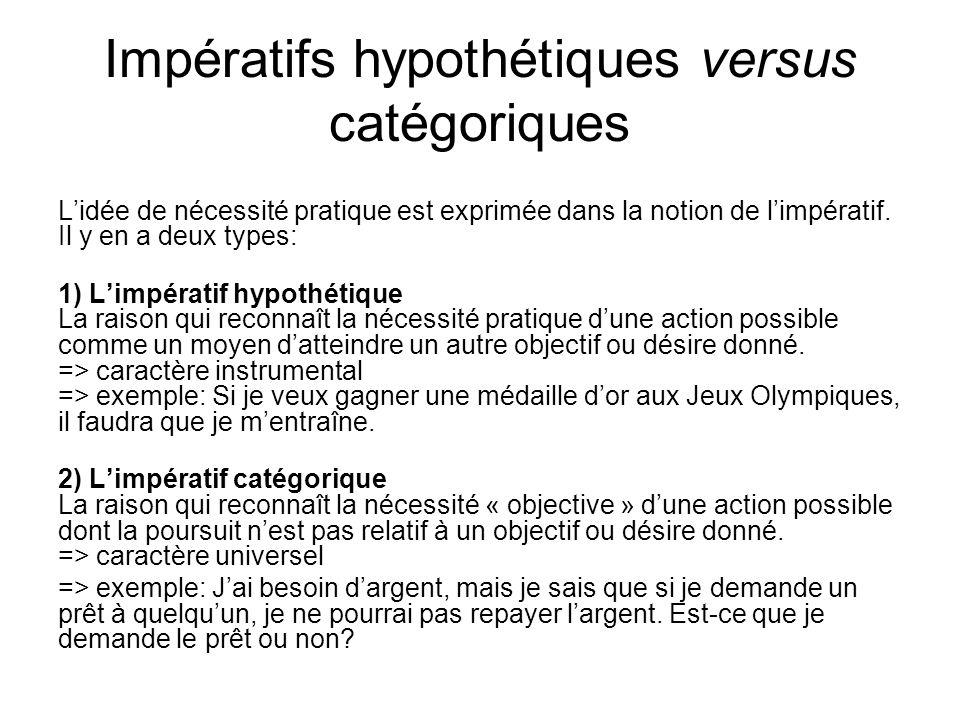 Impératifs hypothétiques versus catégoriques