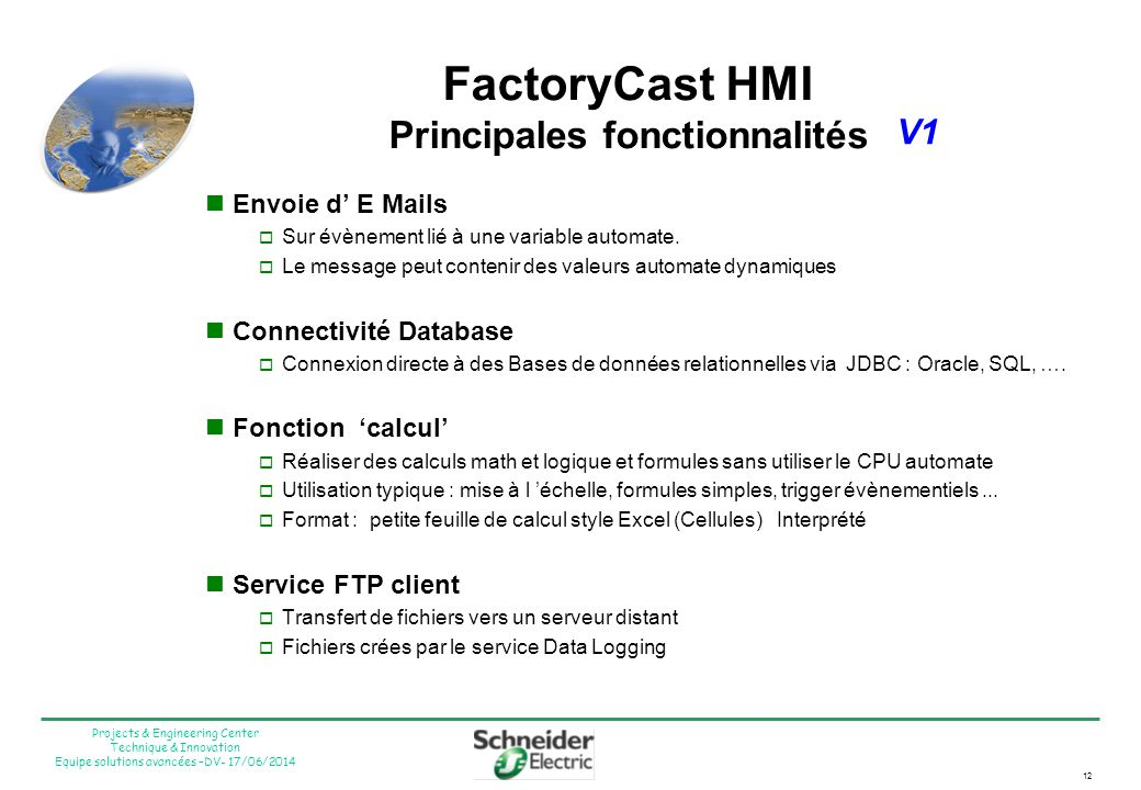 FactoryCast HMI Principales fonctionnalités