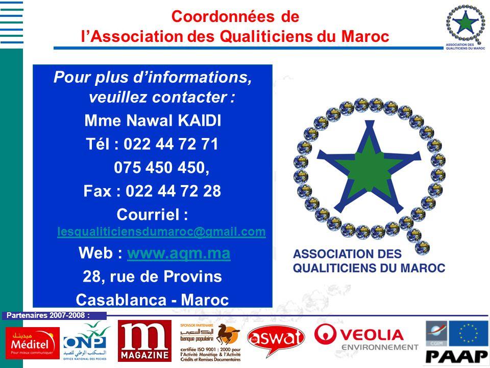 Coordonnées de l'Association des Qualiticiens du Maroc