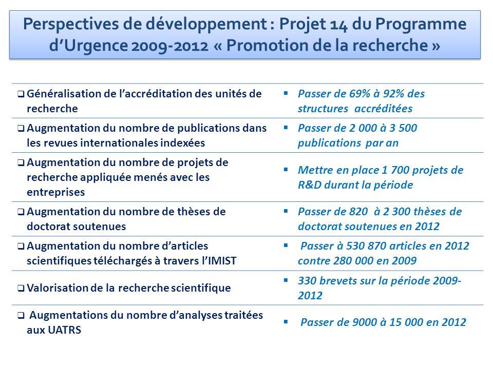 Perspectives de développement : Projet 14 du Programme d'Urgence 2009-2012 « Promotion de la recherche »