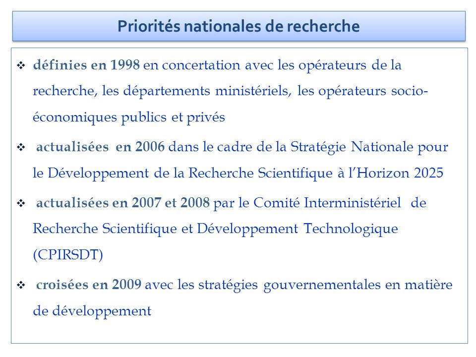 Priorités nationales de recherche