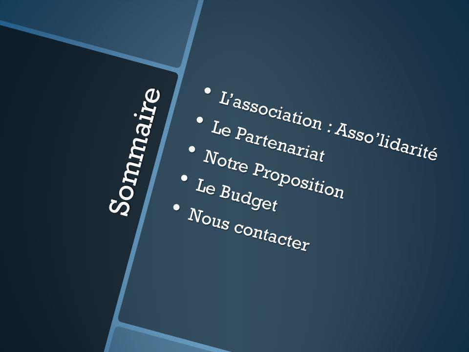 Sommaire L'association : Asso'lidarité Le Partenariat