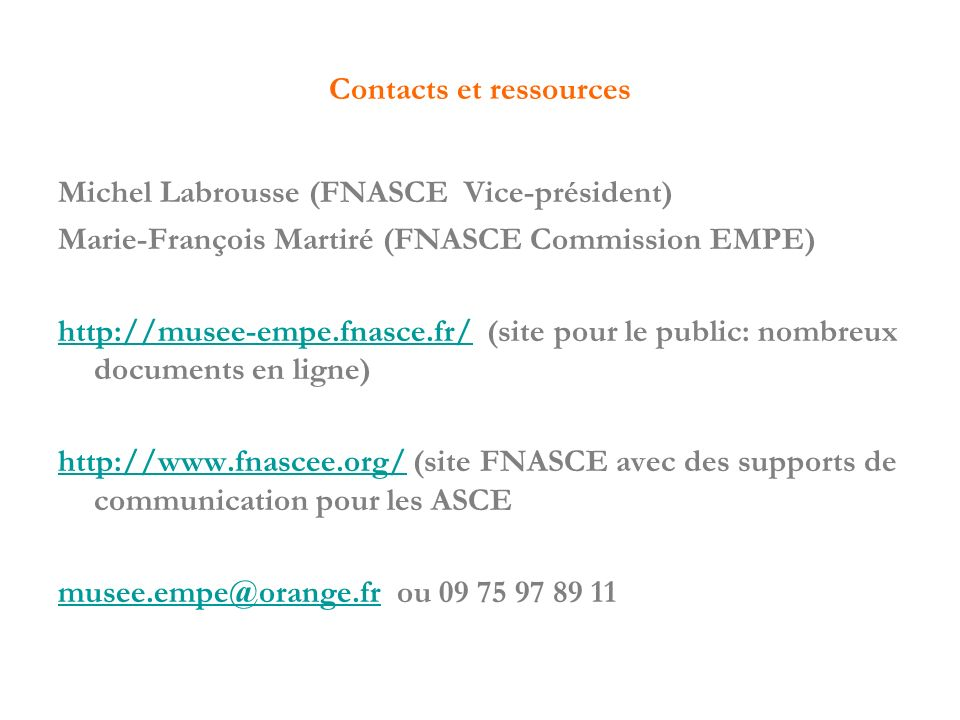 Contacts et ressources