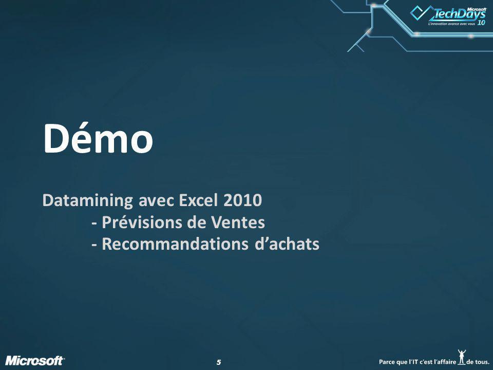 Démo Datamining avec Excel 2010 - Prévisions de Ventes