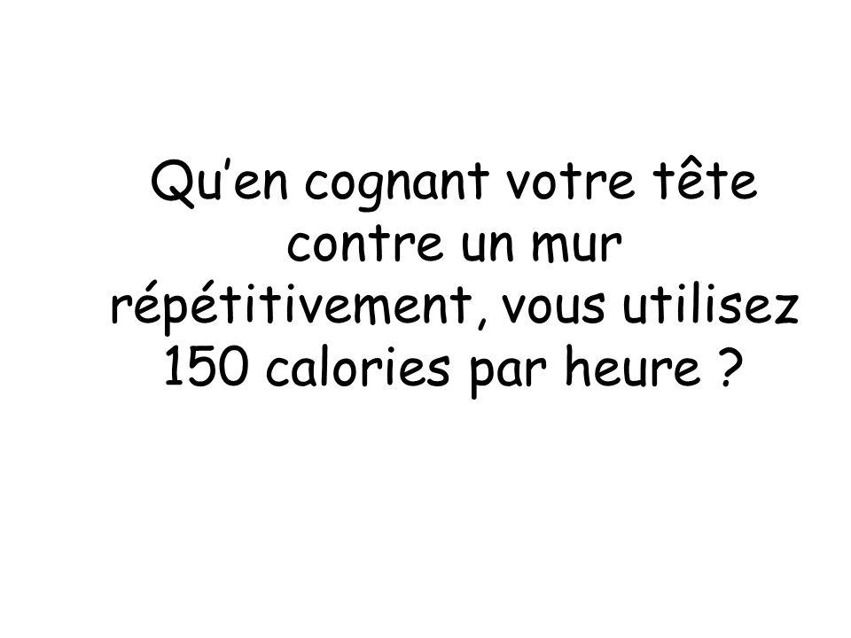 Qu'en cognant votre tête contre un mur répétitivement, vous utilisez 150 calories par heure
