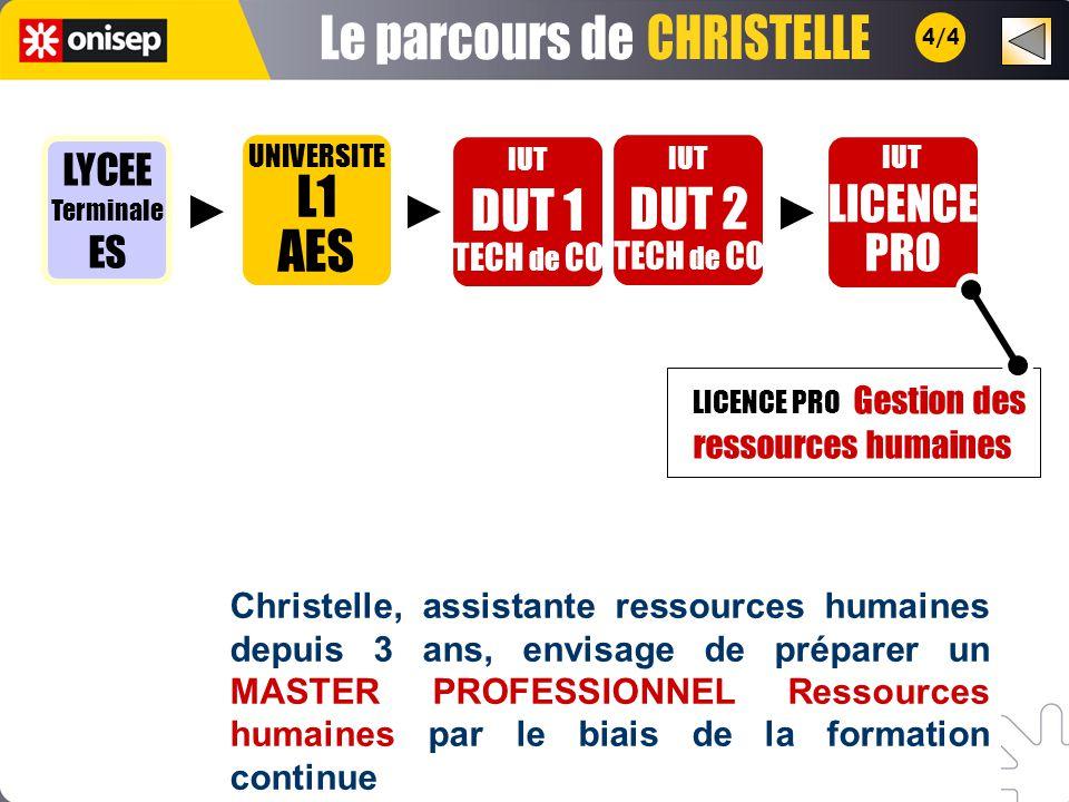 Le parcours de CHRISTELLE L1 AES DUT 1 DUT 2 LICENCE PRO LYCEE ES