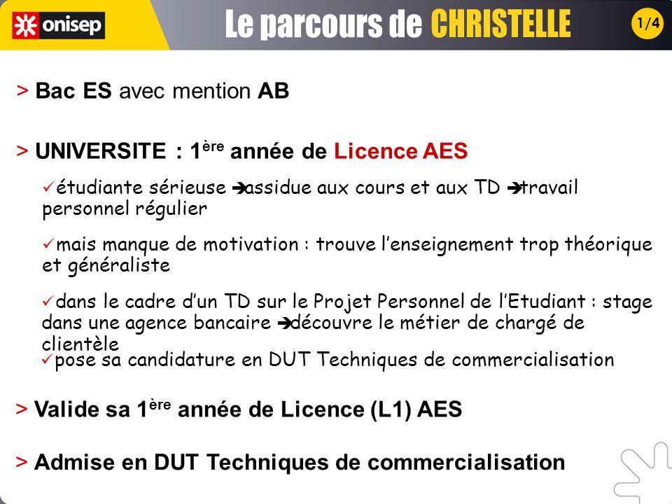 Le parcours de CHRISTELLE > Bac ES avec mention AB