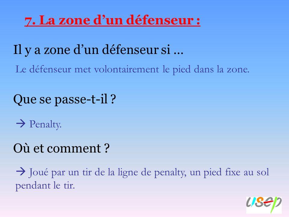 7. La zone d'un défenseur :