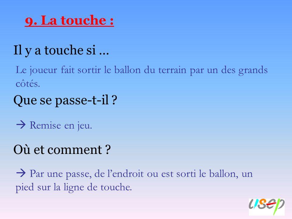 9. La touche : Il y a touche si … Que se passe-t-il Où et comment