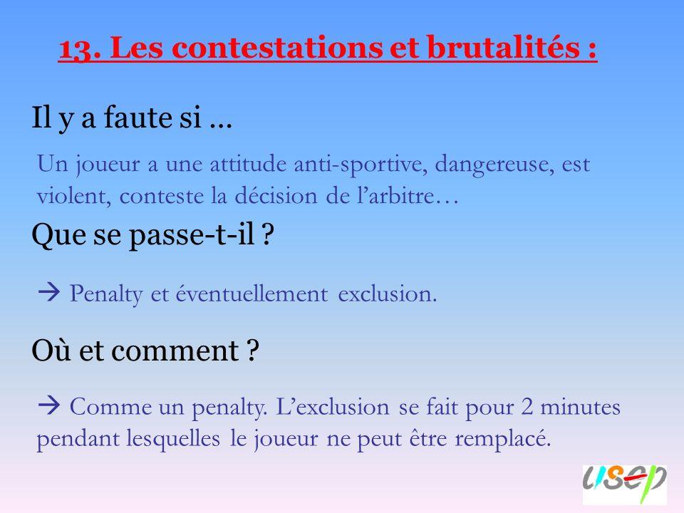 13. Les contestations et brutalités :
