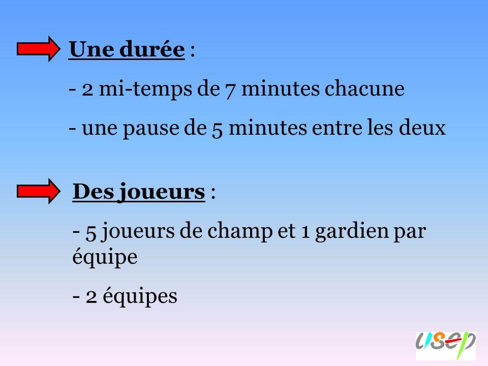 Une durée : 2 mi-temps de 7 minutes chacune. - une pause de 5 minutes entre les deux. Des joueurs :