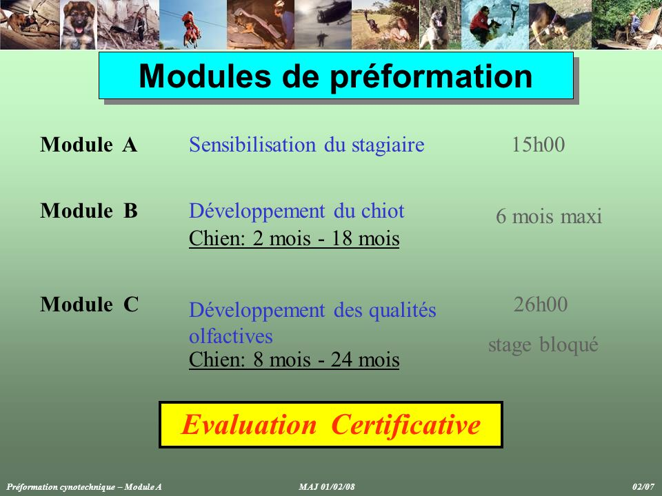 Modules de préformation Evaluation Certificative