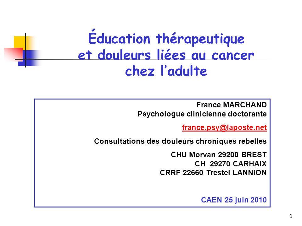 Éducation thérapeutique et douleurs liées au cancer chez l'adulte