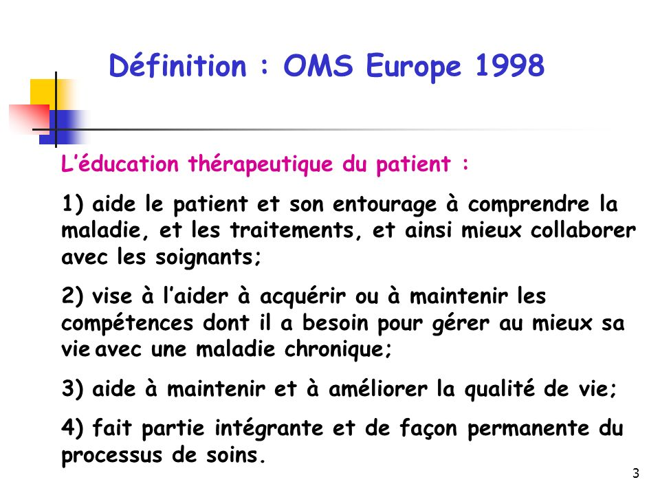 Définition : OMS Europe 1998