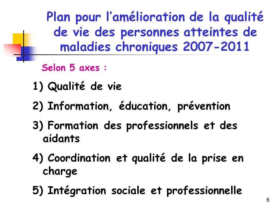 Plan pour l'amélioration de la qualité de vie des personnes atteintes de maladies chroniques 2007-2011