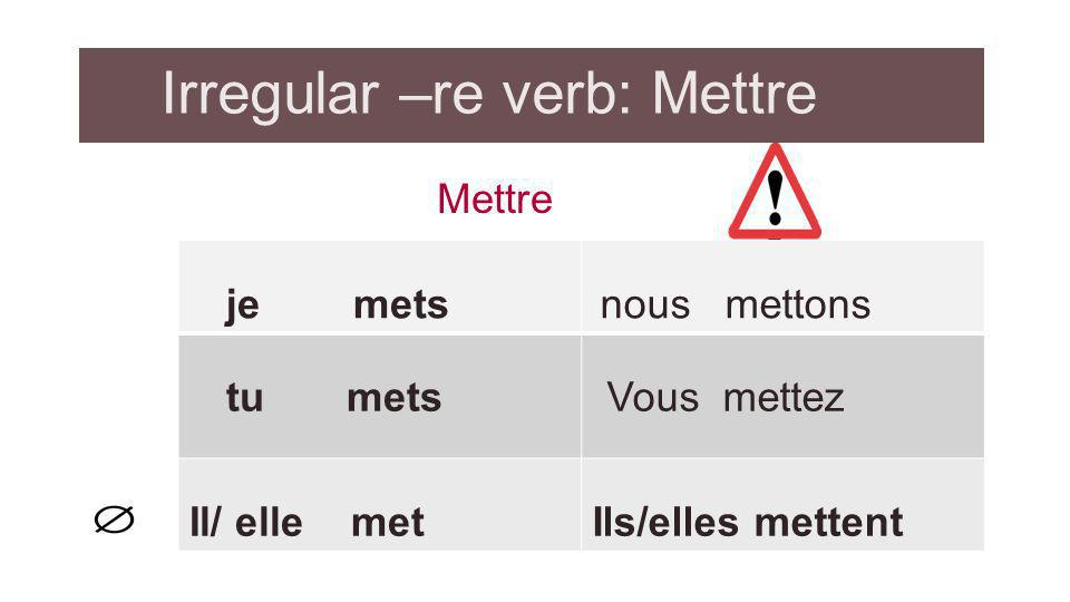 Irregular –re verb: Mettre