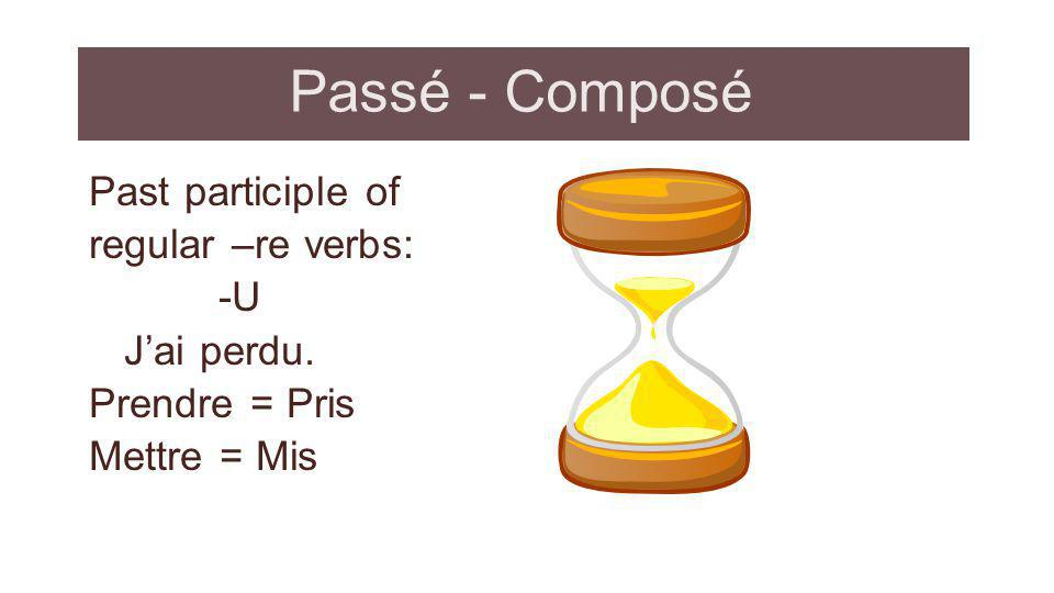 Passé - Composé Past participle of regular –re verbs: -U J'ai perdu.
