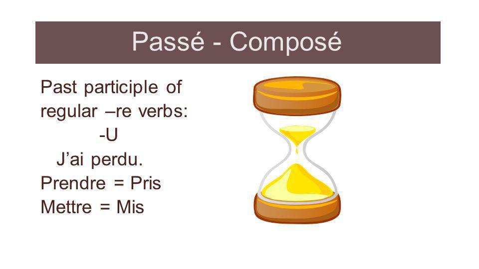 Passé - Composé Past participle of regular –re verbs: -U J'ai perdu.